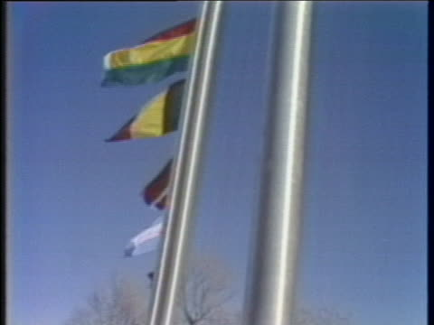 """close-up of a """"boycott moscow olympics"""" sticker on a flag pole at the winter olympic site in lake placid, new york in 1980. - the olympic games stock videos & royalty-free footage"""
