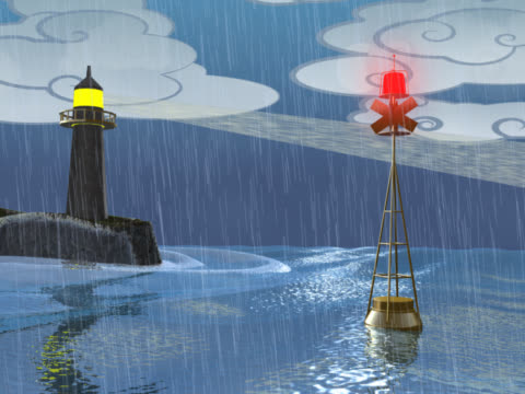 close-up of a buoy floating near a lighthouse - buoy stock videos & royalty-free footage