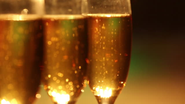 close-up of a champagne glasses - champagne flute stock videos and b-roll footage
