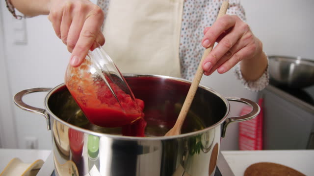 close-up of a chef cooking in kitchen - tomato stock videos & royalty-free footage