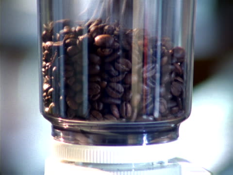 close-up of a coffee grinder being filled - bean stock videos and b-roll footage