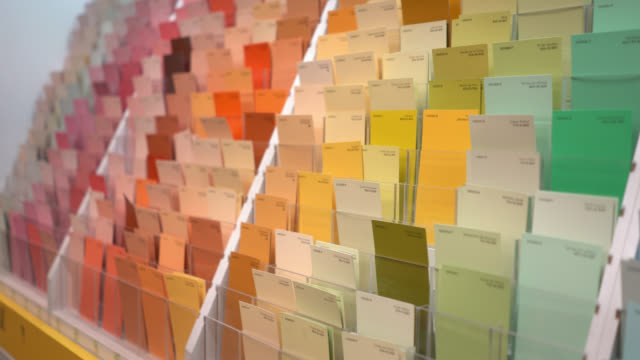 close-up of a color samples at home improvement store - color swatch stock videos & royalty-free footage
