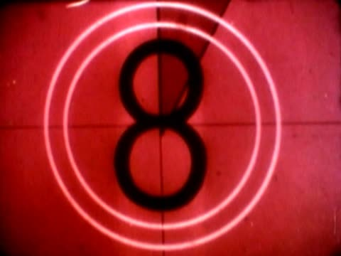 Close-up of a countdown and splice here directions on a film leader