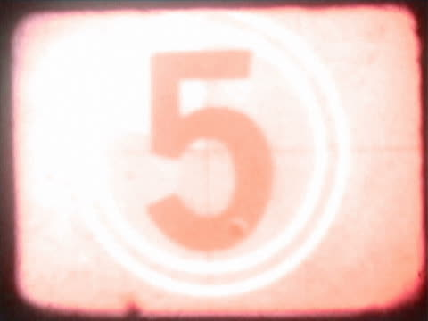 vídeos de stock e filmes b-roll de close-up of a countdown on a film leader - número 4