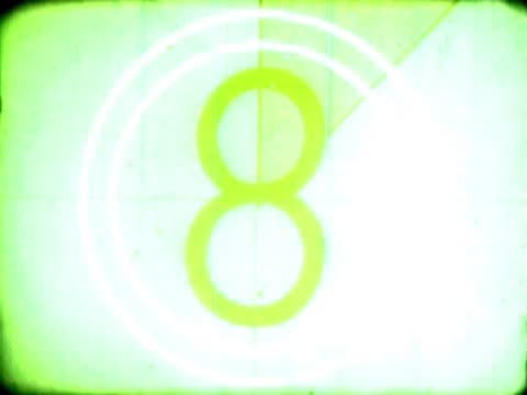 close-up of a countdown on a film leader - vinjettering bildbanksvideor och videomaterial från bakom kulisserna