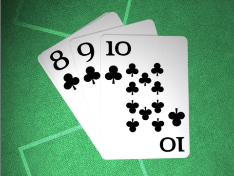 Close-up of a countdown on playing cards