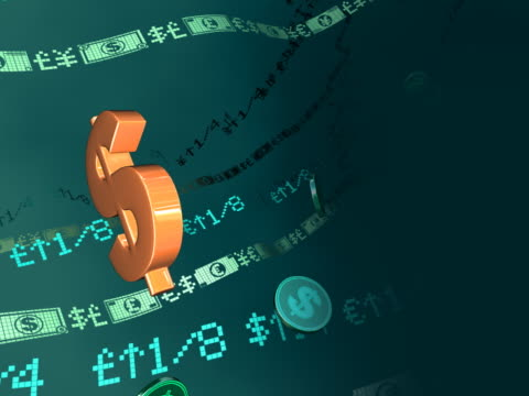 Close-up of a dollar sign rotating and currency symbols moving with stock market data in the background