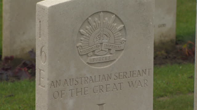 Closeup of a grave for an unidentified Australian sergeant of the Australian Imperial Forces Tyne Cot Cemetery Belgium FKAZ191X Clip taken from...