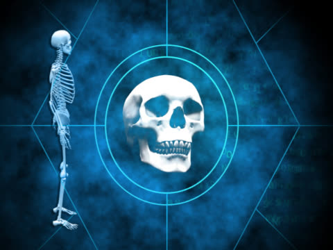 close-up of a human skull and a human skeleton spinning - brustkorb menschlicher knochen stock-videos und b-roll-filmmaterial