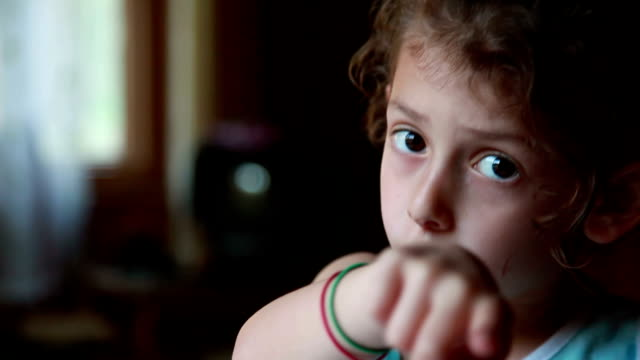 close-up of a little girl pointing finger at camera - pointing stock videos & royalty-free footage