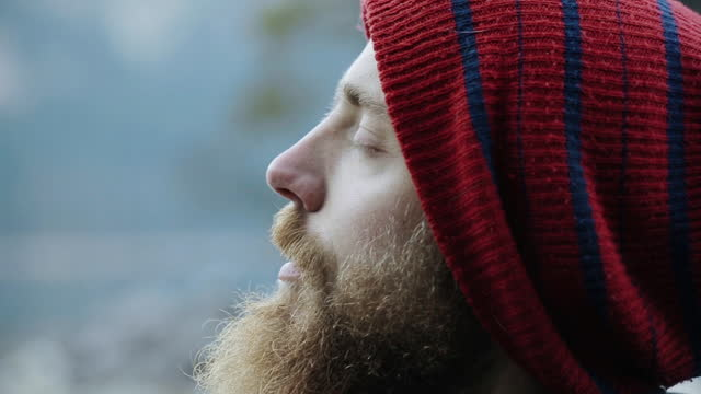 close-up of a man's face, side view - wilderness stock videos & royalty-free footage