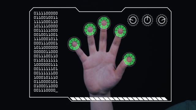 close-up of a man's hand with hud scanning graphic overlay finishing with green 'permission granted' finger trackers. - permission concept stock videos & royalty-free footage