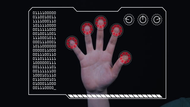 close-up of a man's hand with hud scanning graphic overlay finishing with red 'access denied' finger trackers. - adults only videos stock videos & royalty-free footage