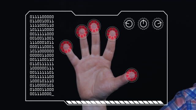 Close-up of a man's hand with HUD scanning graphic overlay finishing with red 'access denied' finger trackers.