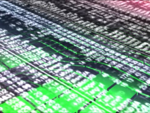 close-up of a moving digital displaymoving stock market numbers looping background - flüssigkristallanzeige stock-videos und b-roll-filmmaterial