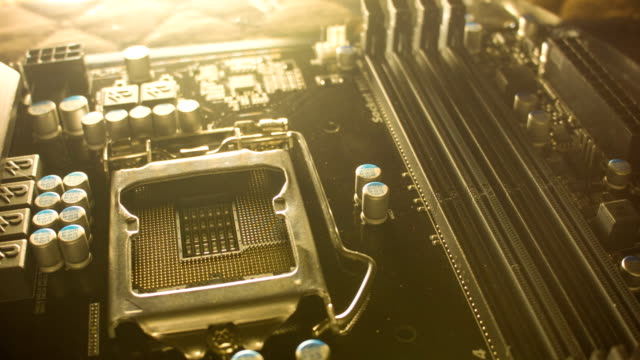 Close-up of a new computer motherboard