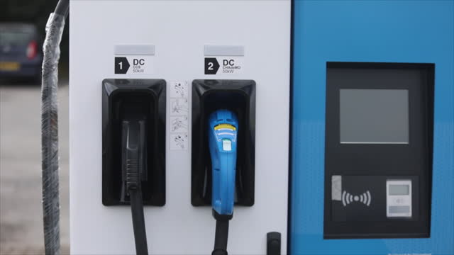 close-up of a new swarco ag ev rapid charging unit on street in canterbury, u.k. on thursday, april 8, 2021. - automobile industry stock videos & royalty-free footage