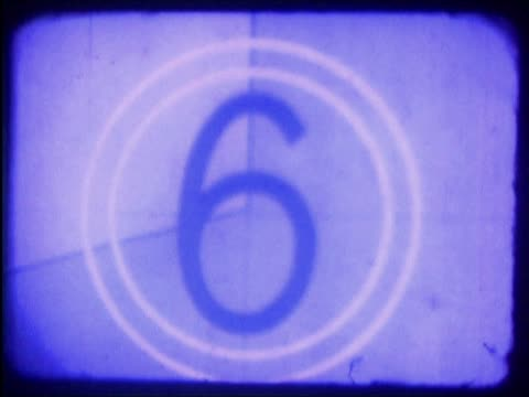vidéos et rushes de close-up of a number countdown on a film leader - chiffre 8