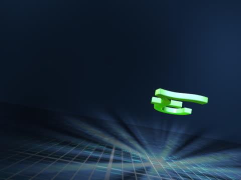 vídeos y material grabado en eventos de stock de close-up of a pound symbol spinning - símbolo de la libra esterlina