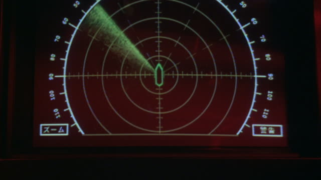 Close-up of a radar screen with a circular chart and Japanese symbols.