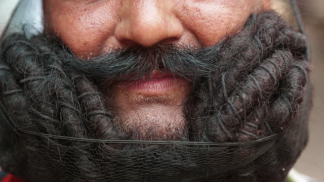 close-up of a rajasthani man moustache, rishikesh, uttarakhand, india - moustache stock videos and b-roll footage