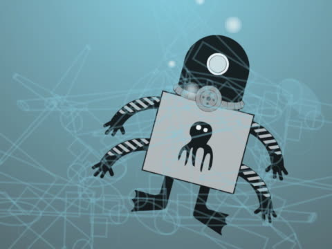 vídeos de stock, filmes e b-roll de close-up of a robot octopus swimming underwater - invertebrado