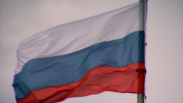 Close-up of a Russian flag flying in St Petersburg.