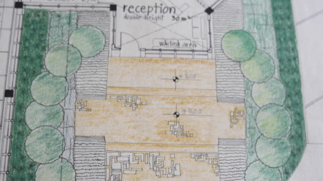 close-up of a sketch of a building layout, hand-drawn - grundriss stock-videos und b-roll-filmmaterial