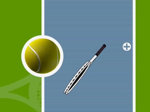 Close-up of a tennis ball and tennis racket rotating