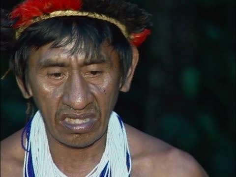 close-up of a tribal speaking - 先住民文化点の映像素材/bロール
