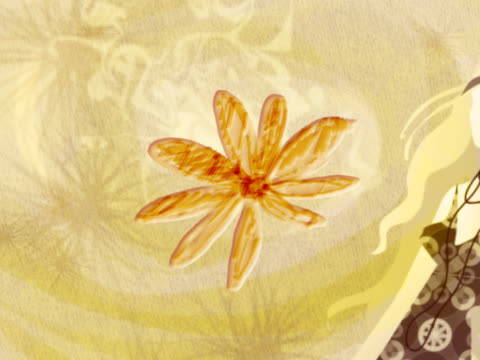 close-up of a woman standing with flowers spinning in the background - dreiviertelansicht stock-videos und b-roll-filmmaterial