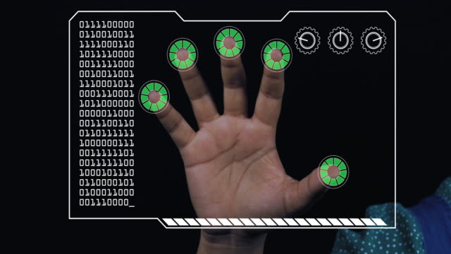 Close-up of a woman's hand with HUD scanning graphic overlay finishing with green 'permission granted' finger trackers.