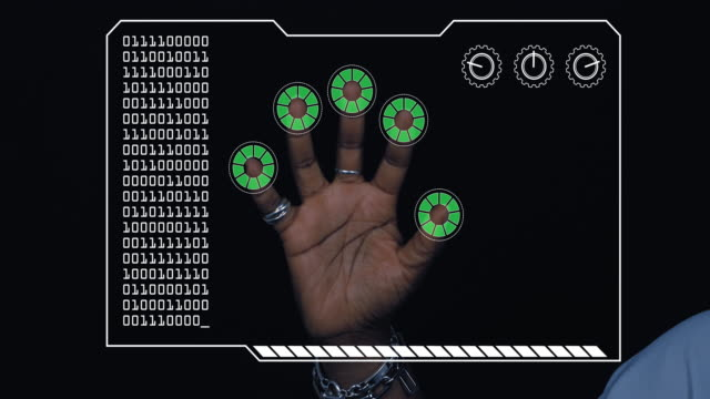 close-up of a woman's hand with hud scanning graphic overlay finishing with green 'permission granted' finger trackers. - permission concept stock videos & royalty-free footage