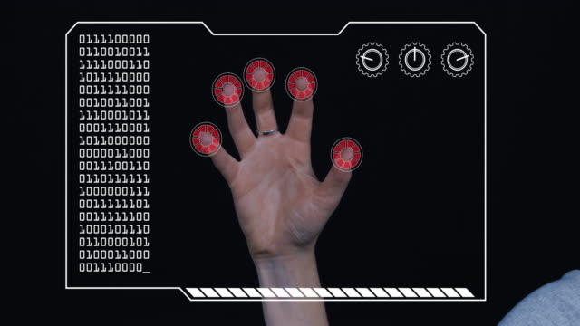 Close-up of a woman's hand with HUD scanning graphic overlay finishing with red 'access denied' finger trackers.