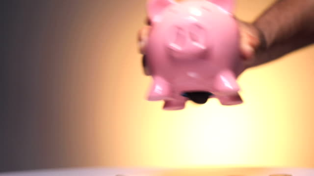 close-up of adult man hand taking out indian coin from piggy bank - absence stock videos & royalty-free footage