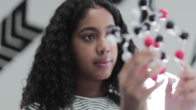 closeup of african american student looking at molecular model - teenagers only bildbanksvideor och videomaterial från bakom kulisserna