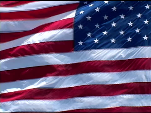 Closeup of American Flag Waving