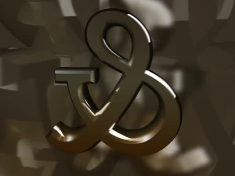 Close-up of an ampersand sign spinning