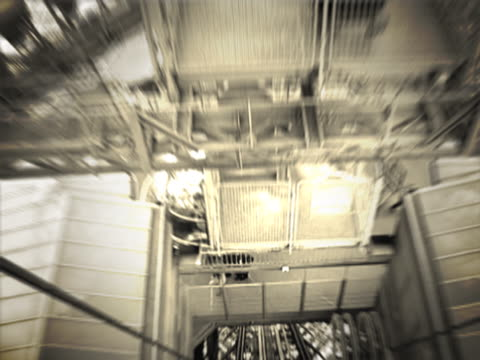 close-up of an elevator moving down - elevator point of view stock videos and b-roll footage
