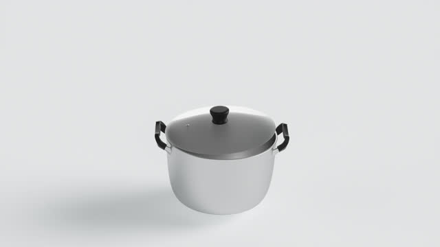close-up of an empty iron stew pot with a glass open lid on a white background. cgi illustration. - boiling stock videos & royalty-free footage