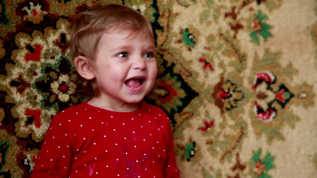 close-up of an excited baby - part of a series stock videos & royalty-free footage