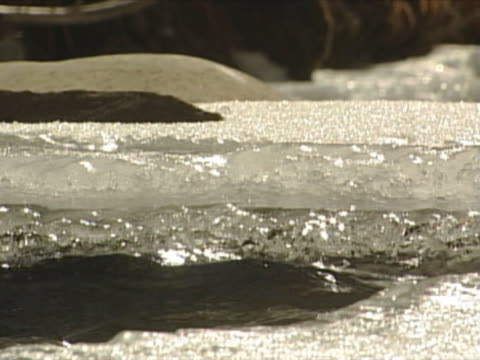 close-up of an icy bank by a fast flowing river. - manipolazione di colore video stock e b–roll