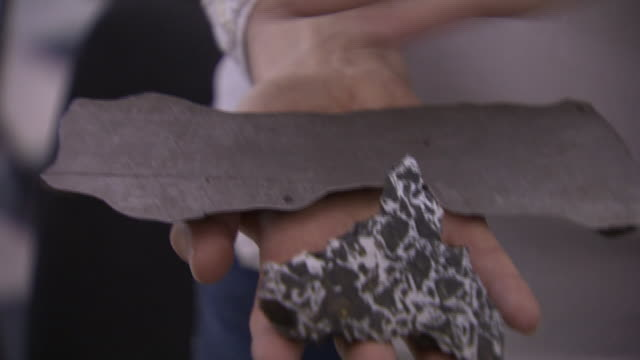 close-up of an iron meteorite - 隕石孔点の映像素材/bロール
