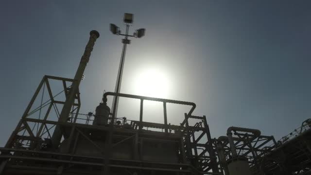 Closeup of an oil refinery in the Rub al Khali desert in Saudi Arabia
