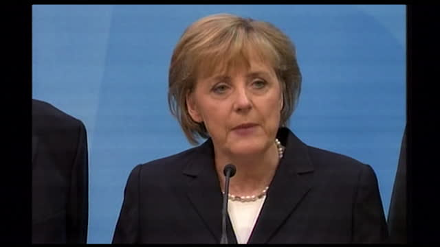 """close-up of angela merkel responding to exit poll results during the german election; 2005. """"we would've liked a better result but i'm proud we're... - stil der 2000er jahre stock-videos und b-roll-filmmaterial"""