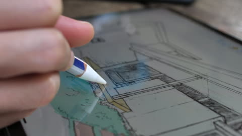 close-up of architect using a digital pencil for drawing with graphic tablet,close-up - pen stock videos & royalty-free footage