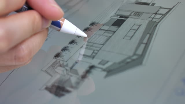 close-up of architect using a digital pencil for drawing with graphic tablet,close-up - digitized pen stock videos & royalty-free footage