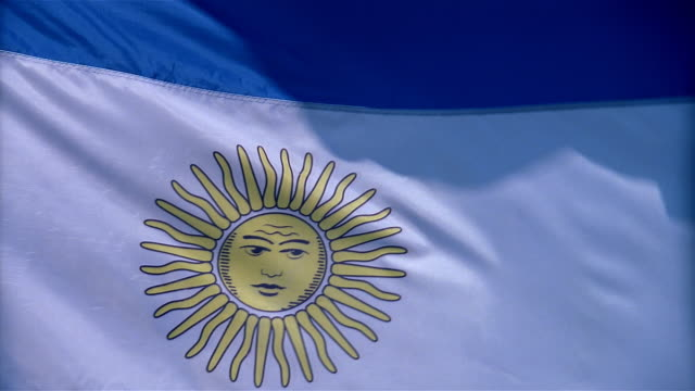 closeup of argentina flag waving in wind - mpeg videoformat stock-videos und b-roll-filmmaterial