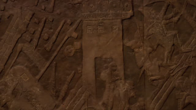 close-up of art carved into stone slabs - archäologie stock-videos und b-roll-filmmaterial
