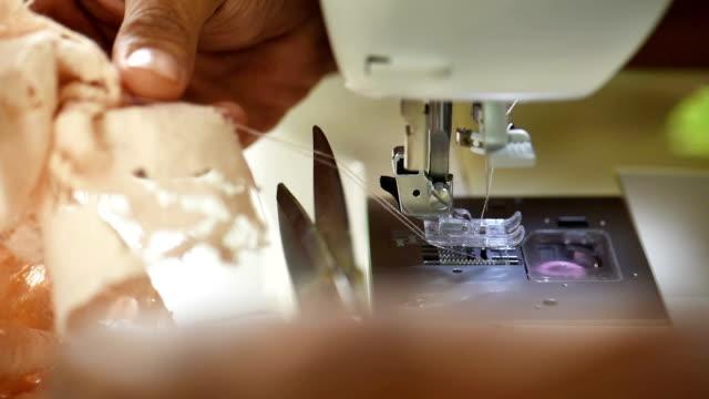 Closeup of automatic sewing machine
